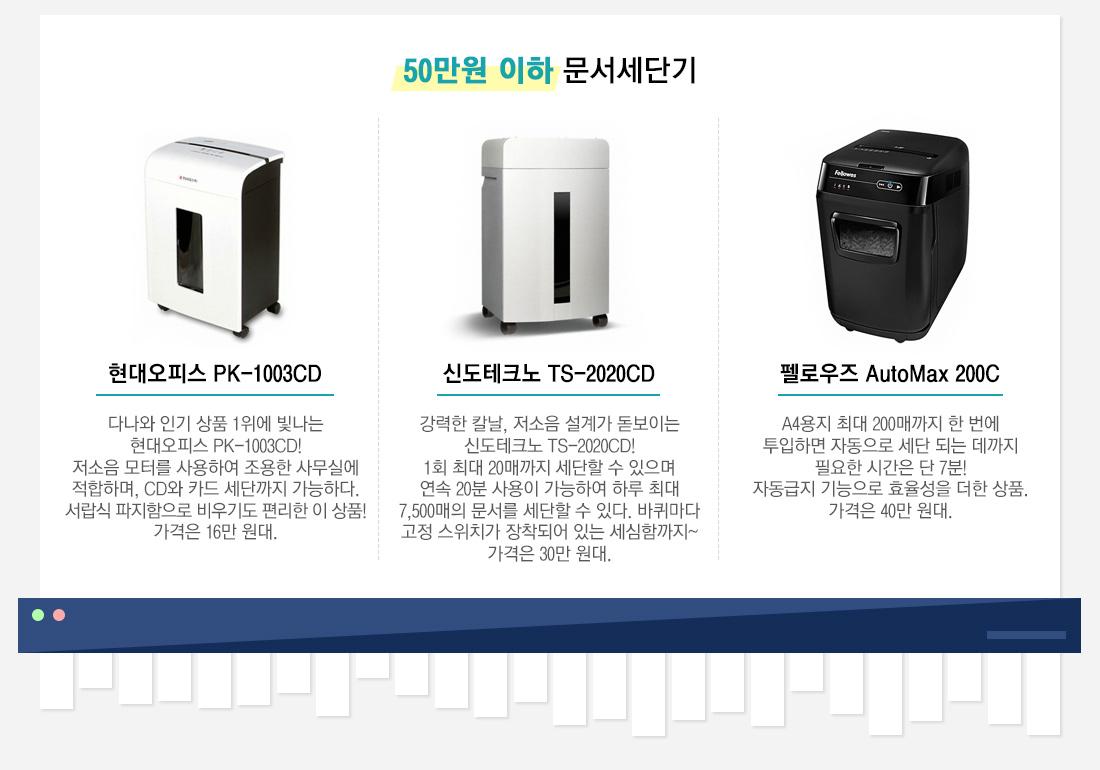 50만원 이하 문서세단기