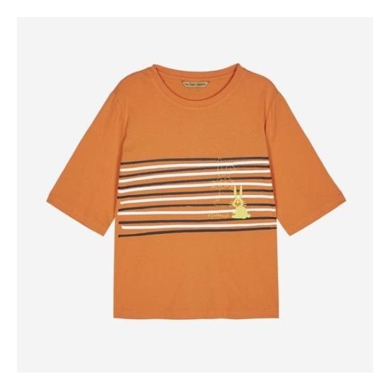 LF 헤지스레이디스 스트라이프 레빗 포인트 반팔 티셔츠 HSTS7B758O2_이미지