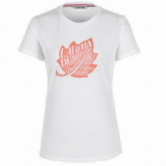 라푸마  여성 나뭇잎 프린트 티셔츠 (LFTS7B331WT, 화이트)_이미지