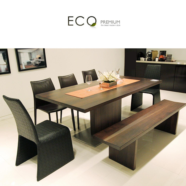 체리쉬 에코(Eco)프리미엄 월넛원목 식탁 (식탁 240cm+220cm 벤치체어 ...