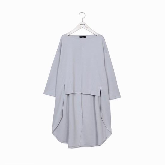 지엔코 엘록 여성 루즈핏 보트넥 언밸런스 티셔츠 E172MTS151W_이미지
