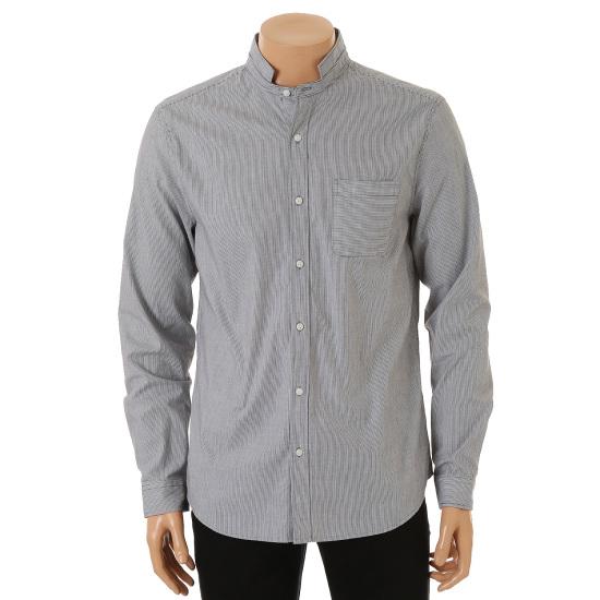 인디에프 테이트 남성 헨리넥 잔스트라이프 셔츠 KA5F8-MRC130_이미지