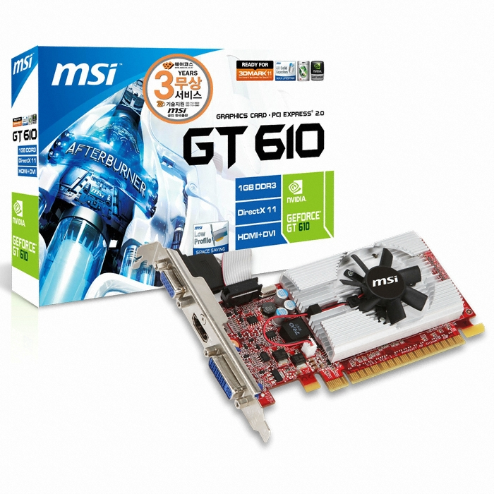 MSI  ������ GT610 N610GT-MD1GD3 D3 1GB LP_�̹���
