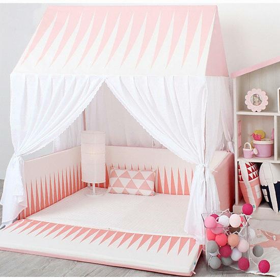 쁘띠메종 범퍼침대 하우스 세트 캐노피 아이코닉 핑크 (110x140cm ...