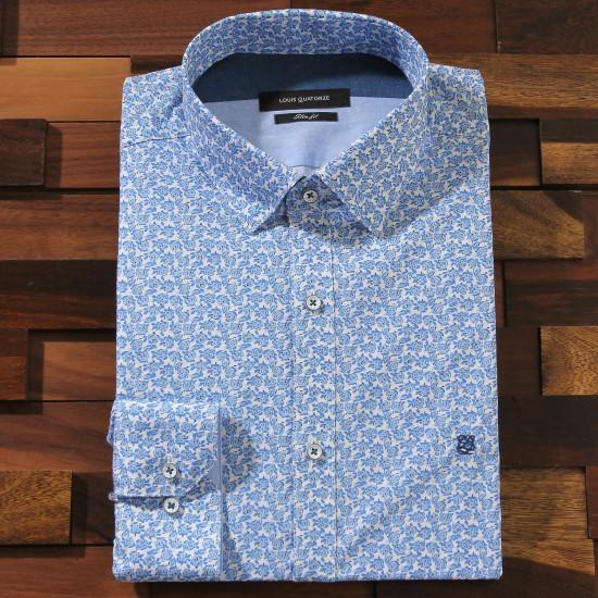 루이까또즈 슬림핏 긴소매 블루 플라워패턴 스냅 셔츠 Q61342_이미지