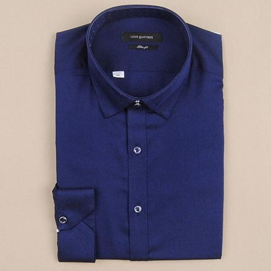 루이까또즈 네이비 긴소매 슬림핏 셔츠 Q5349C_이미지