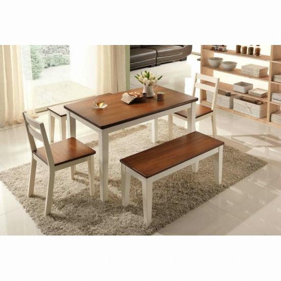 현대리바트 리바트이즈마인 써니 식탁세트 (벤치의자2+의자2개 ...