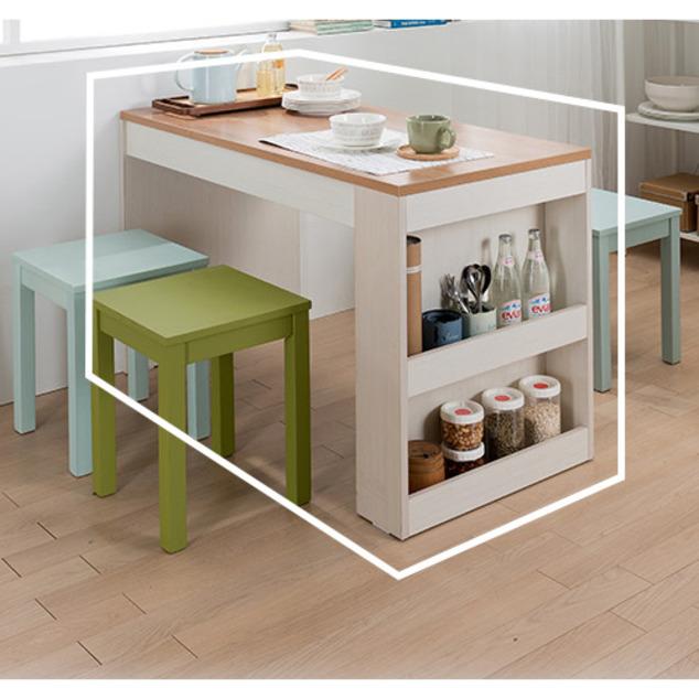 현대리바트 리바트이즈마인 로덴 스마트 4인 식탁+수납 렌지대 ...