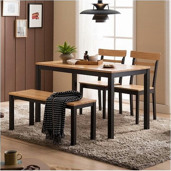 현대리바트 리바트이즈마인 카카오 4인 식탁세트 (의자2개, 벤치 ...