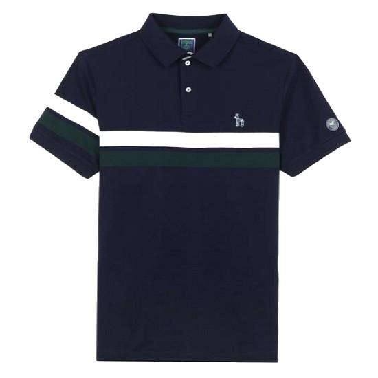 LF 헤지스(HAZZYS) 네이비 윔블던 라인 라인 배색 반팔 티셔츠 HZTS7B003N2_이미지
